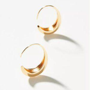 NEW~ Anthropologie Gold Crescent Hoop Earrings